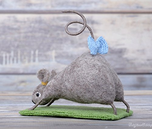 Needle Felted Yoga Mouse Collectible Doll Room Decor Tiny Wool Animal Table Centerpiece Handmade Felt Toy Grey Mice Little Rat by NeighborKitty