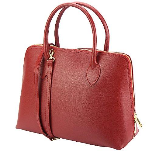 Cuir 308 Sac Rouge Saffiano Market Leather En CartableBusiness Florence Femme Foncé Pour dBxeWrCo