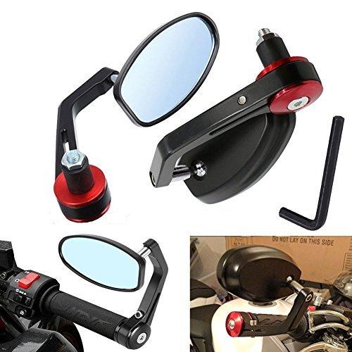 Espejo de katur 7/20,3cm 22mm UNIVERSAL de la motocicleta Espejo Retrovisor de aleación de aluminio ronda Shaped de...
