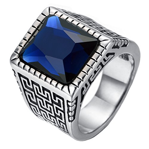 PAURO Men's Stainless Steel Vintage Great Wall Pattern Square Diamond Ring Blue Stone Size 9 - Gents One Stone Ring