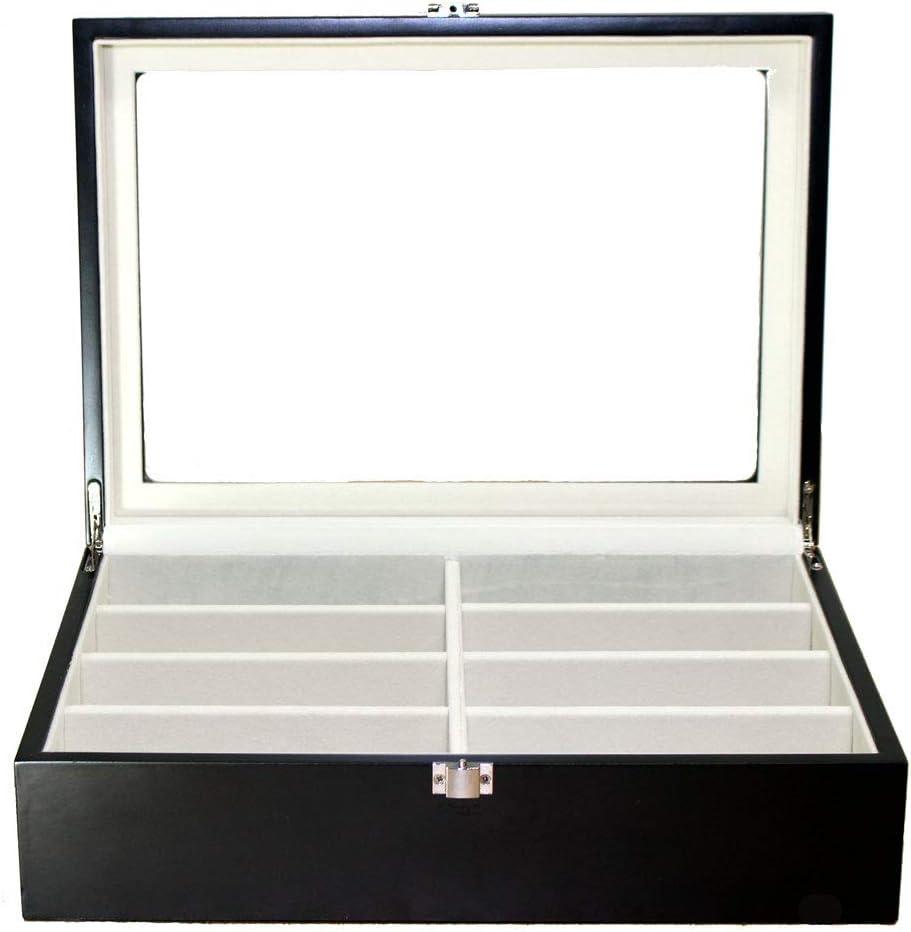 Roomganize Luxury Eight-Compartment Sunglasses Organizer, Eyewear Organizer, Jewelry Box, Watch Box and Display Case-Enhances The Decor of Any Room (Black)