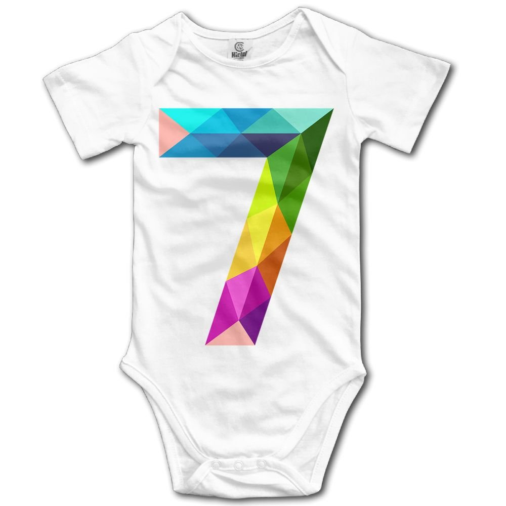 Jaylon Baby Climbing Clothes Romper Number 7 Infant Playsuit Bodysuit Creeper Onesies White