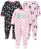 Simple Joys by Carter's Girls' 3-Pack Flame Resistant Fleece Footed Pajamas, Sister/Panda/Floral, 18 Months