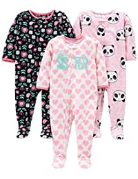 Simple Joys by Carter's Baby Girls' 3-Pack Flame Resistant Fleece Footed Pajamas