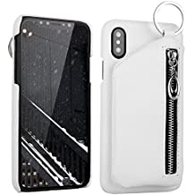 BENIMIL Leather Case Flip Slim Phone Case [ Detachable Genuine Leather Wallet][Kickstand Funtion] for iPhone X/8/7/6+