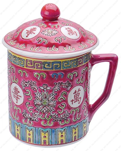 Asian Porcelain Mug for Tea or Coffee with Lid - Beautiful Red with Rose (Kitchen Porcelain Asian)