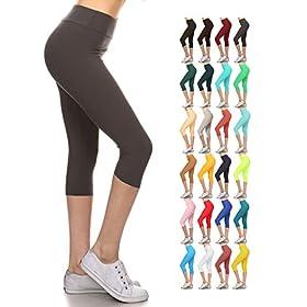 - 51oWBv2IAgL - Leggings Depot Buttery Soft Women's Yoga Gym Workout Higher Waist Solid Capri Leggings Pants 22+ Colors
