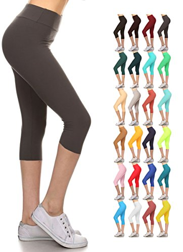 - 51oWBv2IAgL - Leggings Depot Buttery Soft Women's Yoga Gym Workout Higher Waist Solid Capri Leggings Pants 22+ Colors