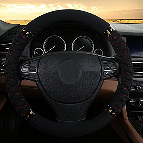 Rayauto 38CM//15 No Smell Cloth wraping Eco Rubber Car Steering Wheel Cover-Black