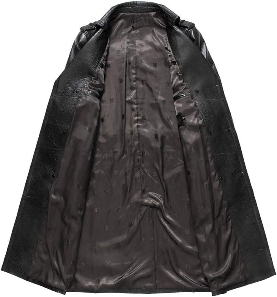 GTYW, Giacca in Pelle da Uomo, Giacca, Bottone, Cintura, Trench in Pelle Scamosciata, Abbigliamento Uomo, Cappotto Lungo, Trench in Pelle, M-3XL Black kjgM0