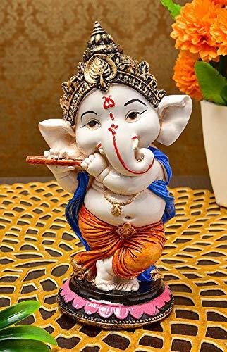 Saudeep India, Handcrafted Resine Little Ganesh Sculpture | Showpiece for Home & Office Decor (Flute Ganesh)