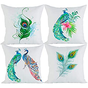 Amazon Com Aichoice Cotton Linen Bundle Set Of 4 Peacock