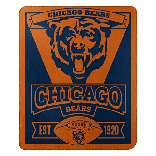 "The Northwest Company 1NFL/03102/0001/AMZ NFL Chicago Bears Marque Printed Fleece Throw, 50"" x 60"", Chicago Bears, 50 x 60"