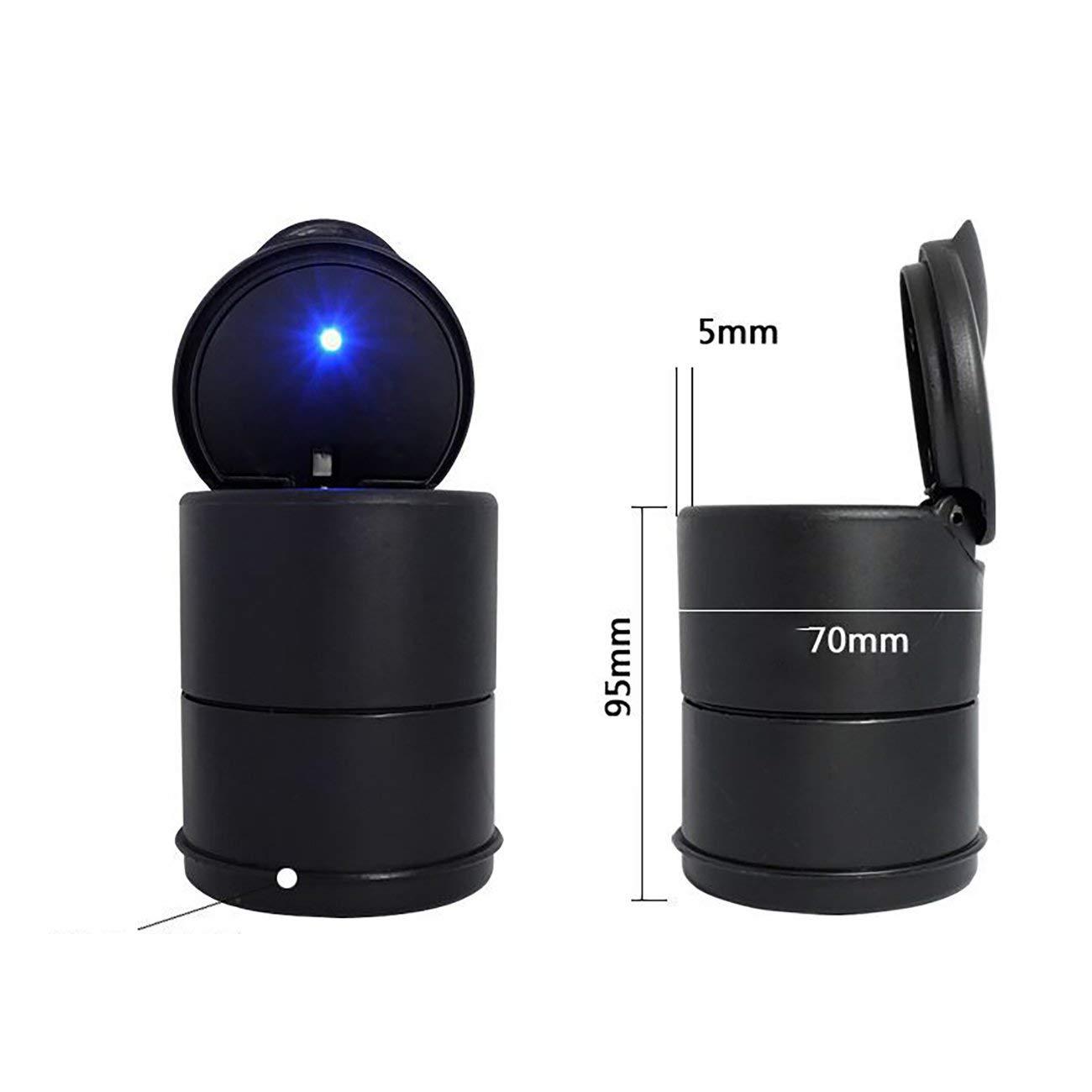 nero JBP-X Posacenere portatile a LED per auto Posaceneri neri con coperchio Posacenere per sigarette con scatola staccabile