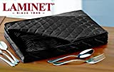 LAMINET Deluxe Heavy-Duty Quilted Flatware Storage Case - Holds Service for 12 - BLACK