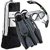 Aqua Lung 4pc Dive Set - Admiral 2 LX Hinge Flex Fins/Snorkel/Mask/Bag