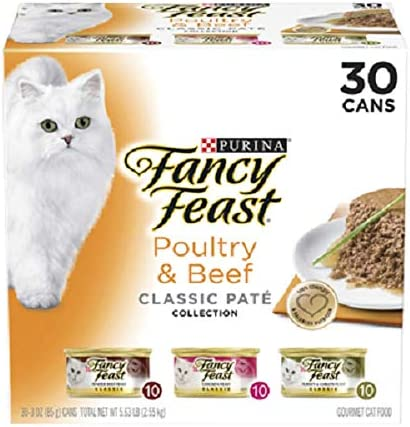 Purina Fancy Feast Classic Pate Collection Feast Adult Wet Cat Food Poultry Beef Variety Pack, 3 oz Pack of 30