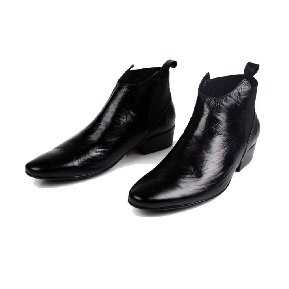 Männer, Lederstiefel, Booties, England, Mode, Koreanisch, Spitz, Booties, Lederstiefel, Mode, Persönlichkeit, Komfort schwarz 6c9ed2