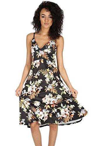 Oops Outlet Femmes Mini Robe Patineuse Grande Taille Pour Femmes Enveloppant Top Camisole À Bretelles Évasé Franki Swing Robes UK 8-22 - Oriental Lis Noir, S/M (EU 36/38)