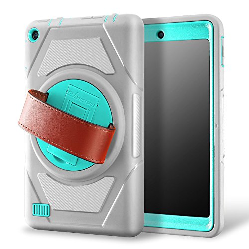 eSamcore Amazon Fire 7 Inch Tablet case, Full Body Protective Case With Built in Screen Protector and rotating
