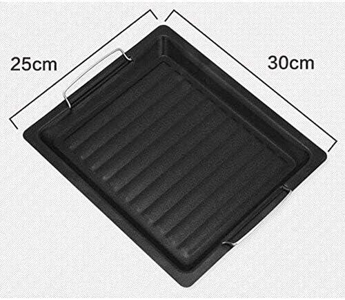 Bigbutterfly Poêle à griller rectangulaire en alliage d'aluminium + revêtement antiadhésif, convient pour 2 à 4 personnes, 25 x 30 cm