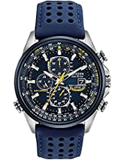 Citizen Eco-Drive World Chronograph A-T Mens Watch, Stainless Steel with Polyurethane strap, Technology, Blue (Model: AT8020-03L)