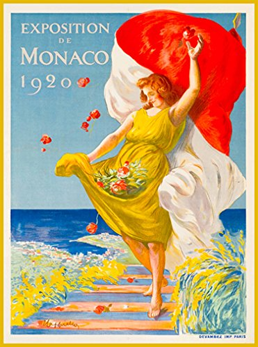 (A SLICE IN TIME Exposition de Monaco 1920 Monte Carlo France French European Europe Vintage Travel Wall decor Advertisement Art Poster Print. 10 x 13.5 inches.)