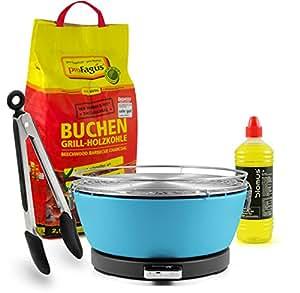 Fuego Diseño Carbón mesa grill 'Vesuvio', azul, incluye 2,5kg Carbón Barbacoa, 1L quemar & gratis Pinzas de barbacoa
