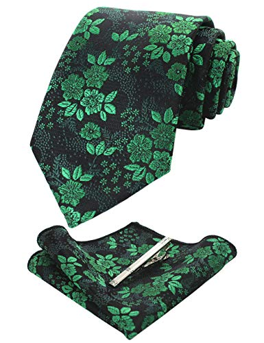 (JEMYGINS Silk Green Floral Necktie and Pocket Square, Hankerchief and Tie Bar Clip Sets for Men (5))