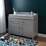 Dark Wood Crib with Changing Table South Shore Convertible Changing Table with Storage Drawers and Removable Changing Station, Soft Gray