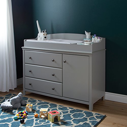 - South Shore Convertible Changing Table with Storage Drawers and Removable Changing Station, Soft Gray