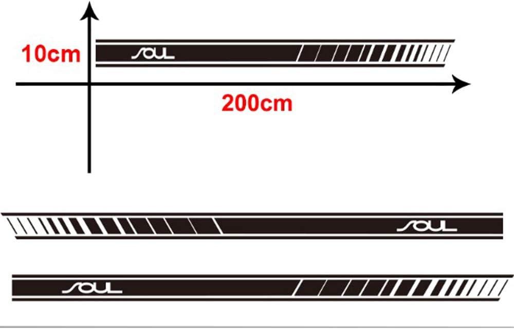 Gemmry Auto Seitenstreifen Aufkleber Sport Rennstreifen Racing Decals Vinyl Lange Streifen Wasserdicht Seitenaufkleber Stickers f/ür Kia Soul Karosserie Styling Dekorationen Zubeh/ör