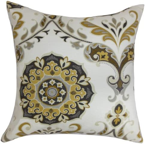 The Pillow Collection Orana Floral Pillow, Brown Gray