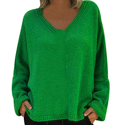 Toimoth Women's Casual Crew Neck Batwing Sleeve Knit Sweater Tops Oversized Pullover Cardigan (Green,XXXL)