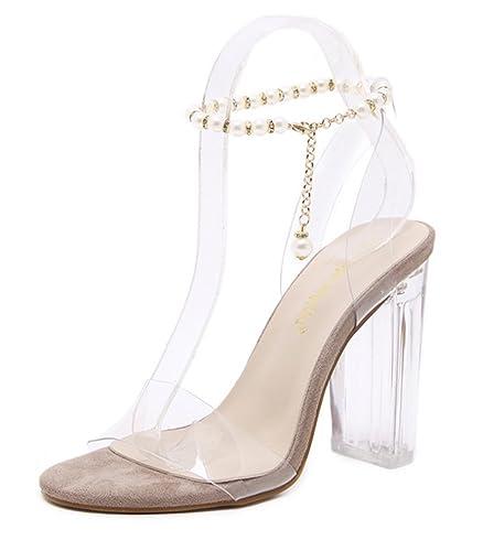 f1400a85547f2 Easemax Damen Sexy Peep Toe Strass Perlen High Heels Durchsichtig ...