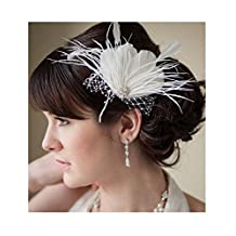 S&E® Women's Elegant Stylish White Feather Crystal Bridal Wedding Party Fascinator Hair Accessory