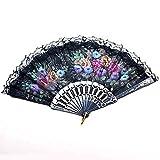 Fangfang Spanish Lace Silk Folding Hand Held Dance Fan Flower Pattern Party Wedding