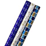 Hallmark Tree of Life Hanukkah Wrapping Paper Bundle with Cut Lines on Reverse, Blue, Gold and White (Pack of 3, 140 sq. ft. ttl.)