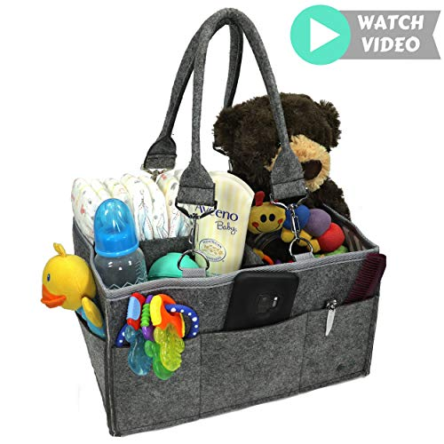 Kudlelteck Baby Diaper Caddy Organizer: Portable Holder Bag for Changing Table and Car, Nursery Caddy Storage Bin - Gray Felt Collapsible Basket for Girl/Boy - Removable Handles.