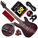 Schecter OMEN-6 6-String Electric Guitar (Walnut Satin) with Clip-On Tuner and Accessory Bundle