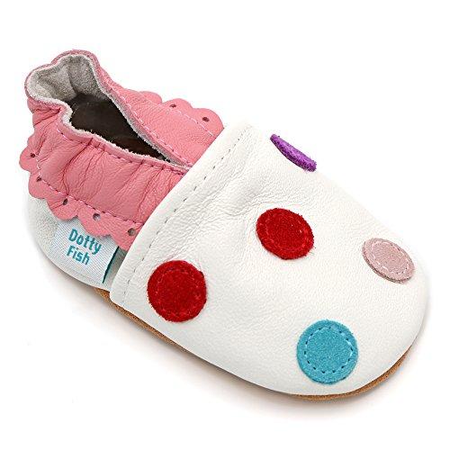 Dotty Fish - Zapatos de cuero suave para bebés - Niñas - Puntos de polca Blanco con puntos