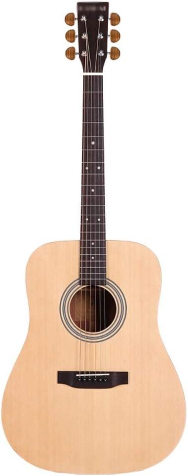 Loivrn Principiantes Entrada Guitarra Instrumento Guitarra 41 Pulgadas Chapa Guitarra Balada 4/4 Instrumento redondeado K-18S Madera redondeada Color portátil Bolsa de guitarra Picking String Tuner