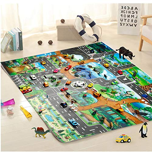 melysUS Baby Play Mat,Kids Map Taffic Animal Play Mat Baby Road Carpet Home Decor Educational Toy (8357)