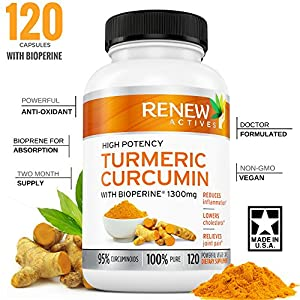 DOUBLE STRENGTH TURMERIC + BLACK PEPPER Capsules! 2 Month Supply! 1300mg! Non-GMO Turmeric Curcumin w Bioperine. Benefits Anti-inflammatory & Anti-Aging. Feel Less Joint Pain in 2 weeks!