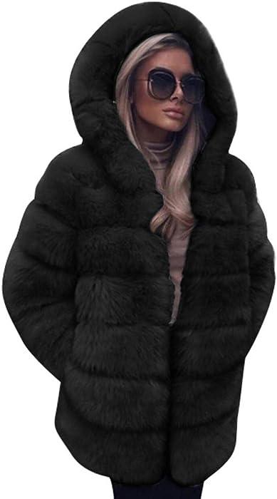 667f414759818 Limsea Women Luxury Faux Fur Coat Hooded Solid Long Autumn Winter Warm  Overcoat(Black