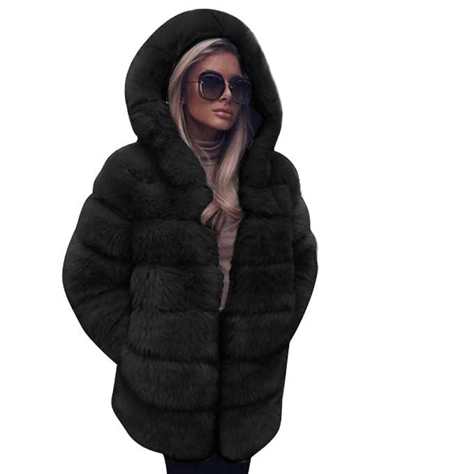 d1b117af2494 FNKDOR Women Fashion Luxury Fluffy Shaggy Long Sleeve Faux Fur ...