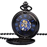 Zeiger Copper Case Classic Skeleton Roman Design Stainless Steel Mechanical Steampunk Pocket Watch Quartz With Chain (Black 4)