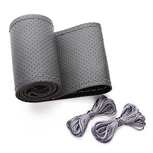 Onerbuy Universal Leather Car Steering Wheel Stitch On Wrap Cover DIY Sewing Breathable and Anti slip, 15-Inch (Gray)