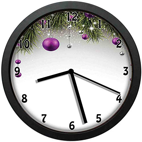 Tree with Tinsel and Ball with Present Wrap Ribbon Celebration Picture,Purple Grey Green,Black Wall Clocks Nice Gifts or Office Home Unique Decorative Clock 10in with Frame