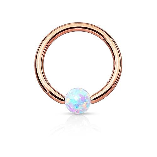 Tapsi´s Coolbodyart® Unisex Chirurgenstahl Captive Bead Ring gold, schwarz, roségold, regenbogen mit künstlichem Opal
